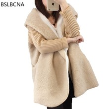 2020 Plus Size Lamb Wool Coat Female One Botton Solid Color Hat Long Knitted Sleeve Patchwork Warm A