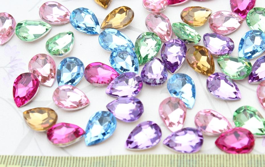800pcs 3D Acrylic Rhinestone Crystal Bling Faceted Teardrop Cabochons cab mixed colors 14x10mm