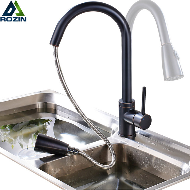 Deck Mounted Black Kitchen Faucet Pull Out Spout Bathroom Kitchen