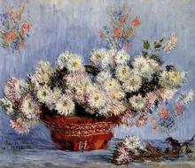 Chrysanthemums by Claude Monet Handpainted