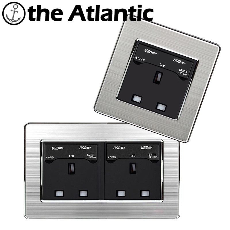 Atlantic Double 13A UK Standard Outlet with Two USB Socket Enchufe Stainless Steel Panel Electrical Plug 146*86mm 146 double 13a uk switched socket wallpad crystal glass panel 110v 250v 146 86mm uk standard wall socket plug power outlet