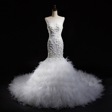 White Luxury Beading Appliques Lace Trumpet Ruffle Tulle Long Wedding Dress Lace Up Back Bridal Gown