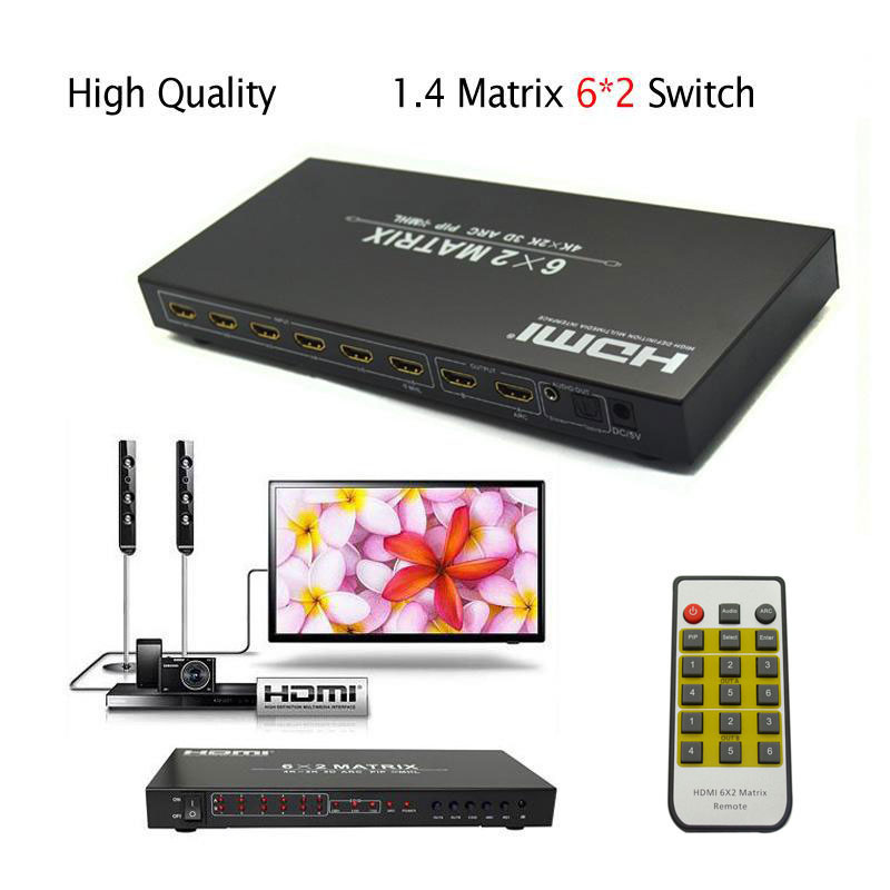 Quality 6*2 HDMI2.0 matrix 6 In 2 Out HDMI Switcher 4kx2k 3D Splitter Audio Video Conver ...