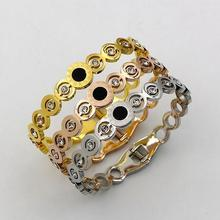 Pink gold color hollow round crystal bracelets bangles for women pulseiras, fashion titanium steel bangle bracelet jewelry