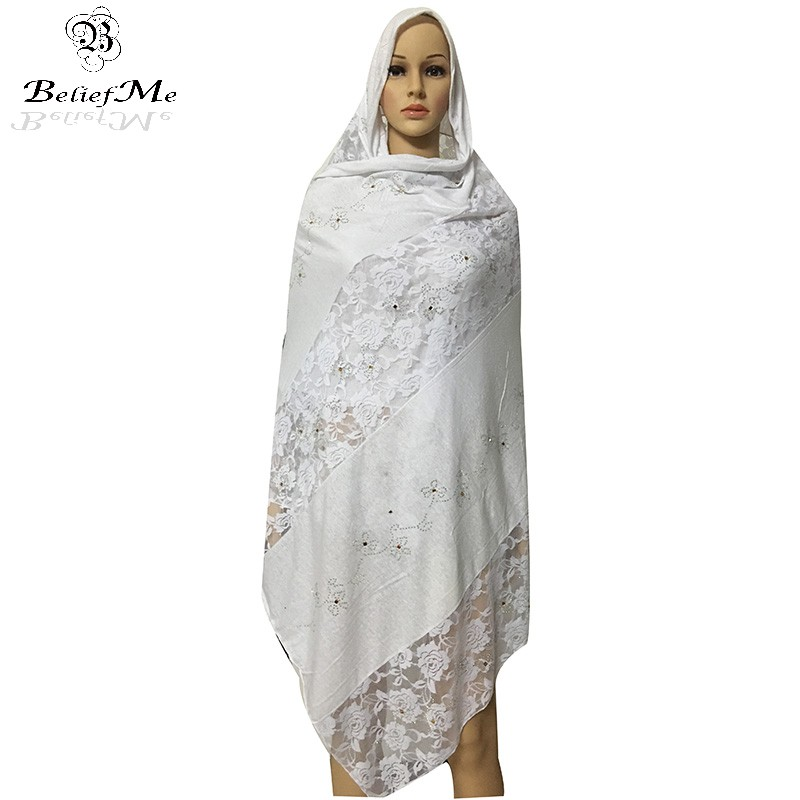 New African   Scarf  , African muslim embroidery lace cotton   scarf   ,soft cottton   scarf   for shawls   wraps