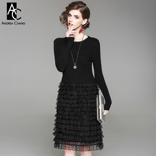 Autumn Spring Woman Dress Knitted Top Cascading Ruffled Lace Bottom