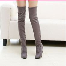 spring and autumn New pattern Women's Boots Elastic force Suede Slender legs heels Knee Boots Large code 41,42,43