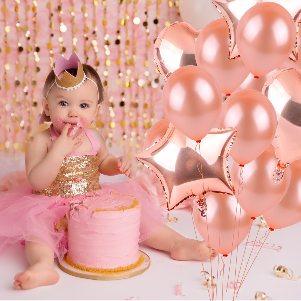 FENGRISE Rose Gold Birthday Balloons Champagne Foil Star Balloon Party Decoration Adult Anniversary Wedding Decor In Ballons Accessories
