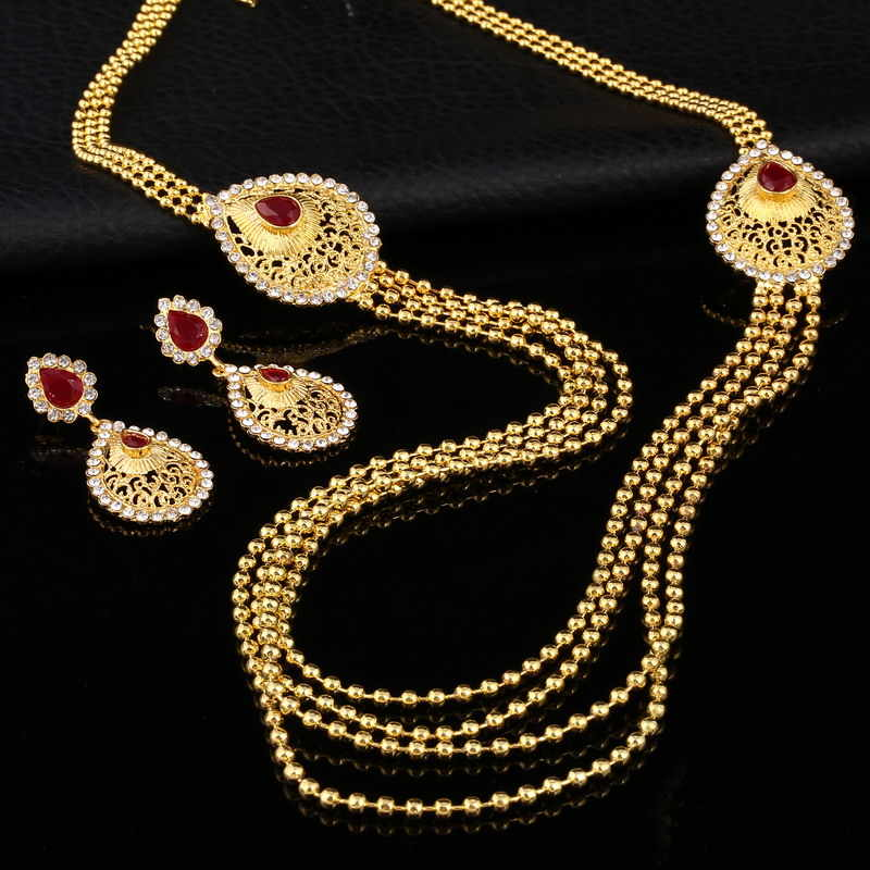2019 Bridal Gift Nigerian Wedding African Beads Jewelry Set Fashion Dubai Gold Jewelry Set for Women Wholesale Design