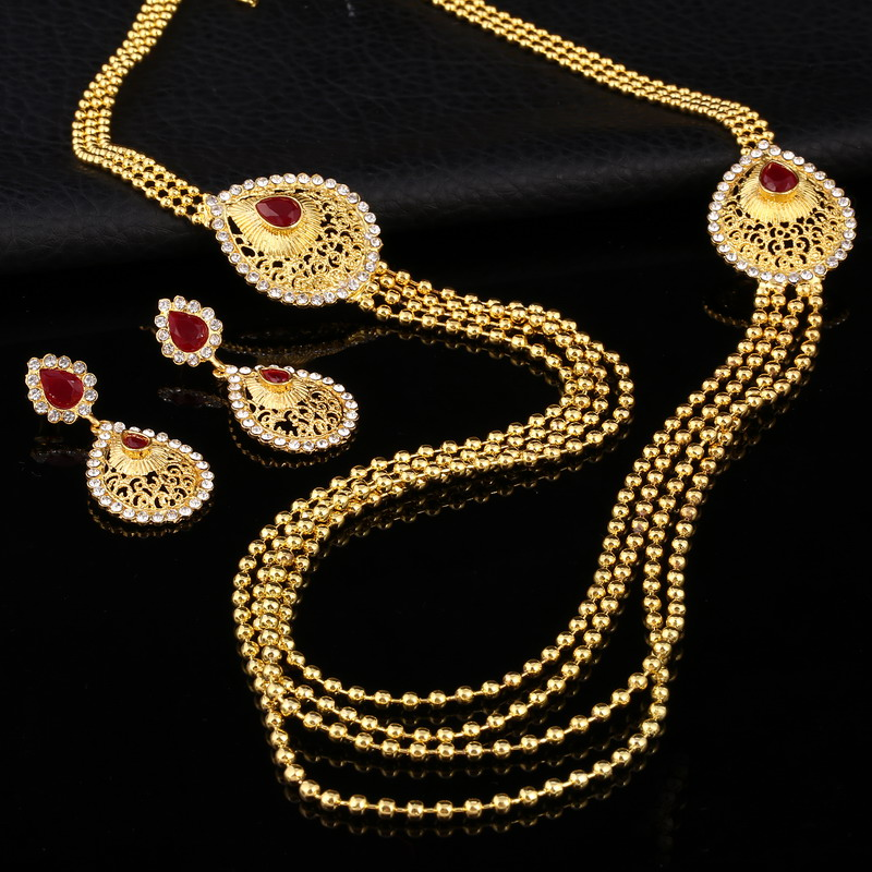 2018 Bridal Gift Nigerian Wedding African Beads Jewelry Set Fashion Dubai Gold Jewelry Set for Women Wholesale Design