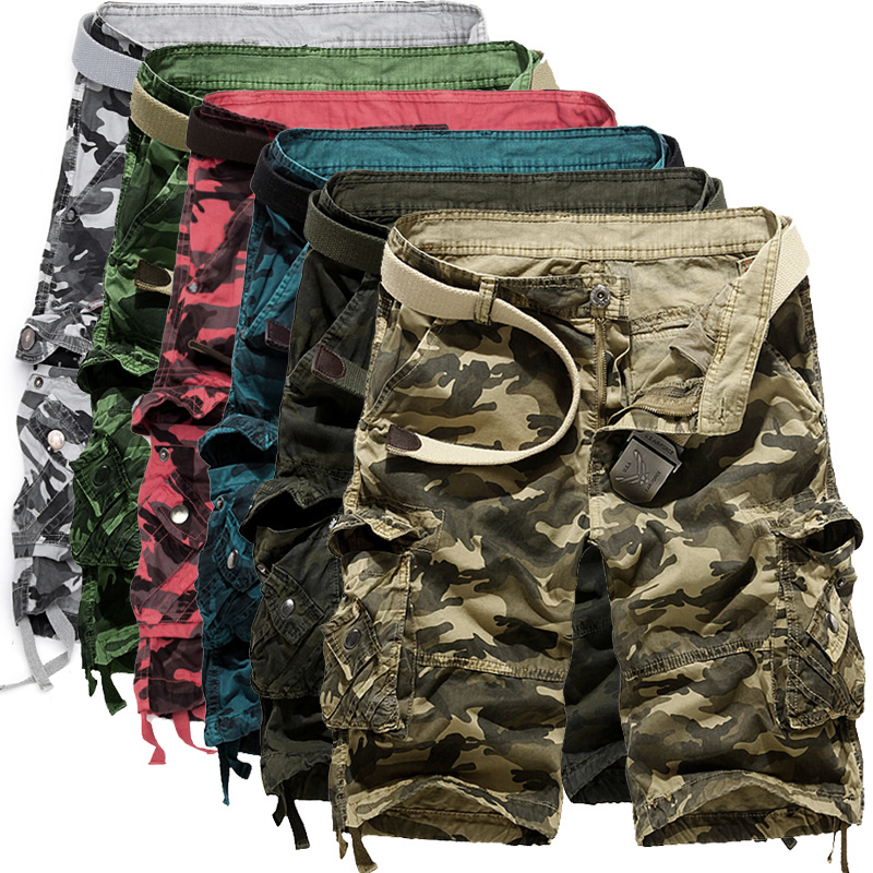 86 Men Camouflage Cargo Shorts New Brand Male Army Loose Cargo Pants Men Casual Work Short Pants No Belt camouflage color