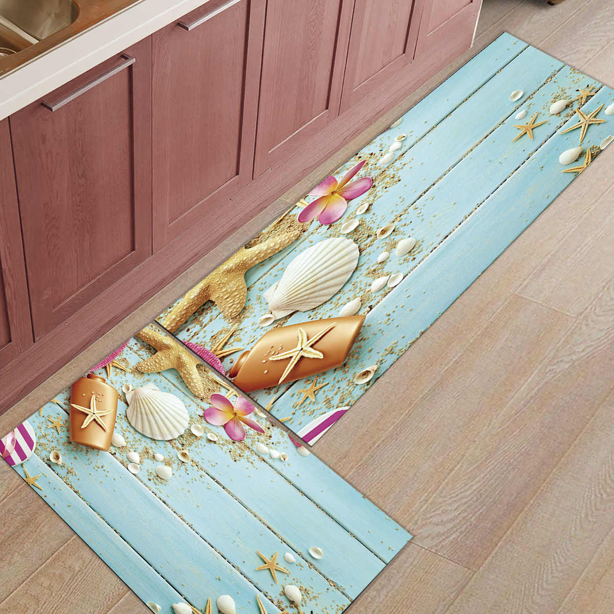 Shell Starfish Flowers Under A Pet Water Food Bowl Boot Shoes Scraper Accessory Sets Floor Carpets Area Runners Personalized