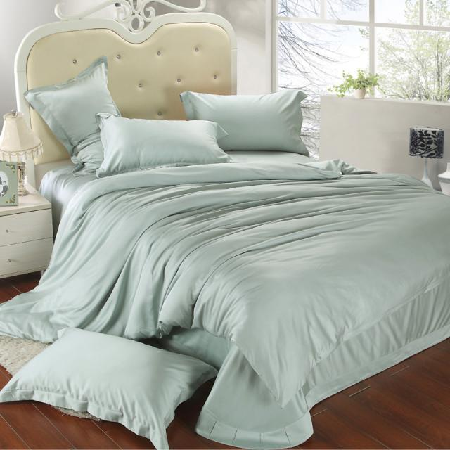 Luxury King Size Bedding Set Queen Light Mint Green Duvet Cover