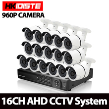 16CH 1.3MP 960P CCTV System 16 channel 1080P AHD DVR with CCD 2500TVL waterproof ip66 Security surveillance Camera kit 36 LED