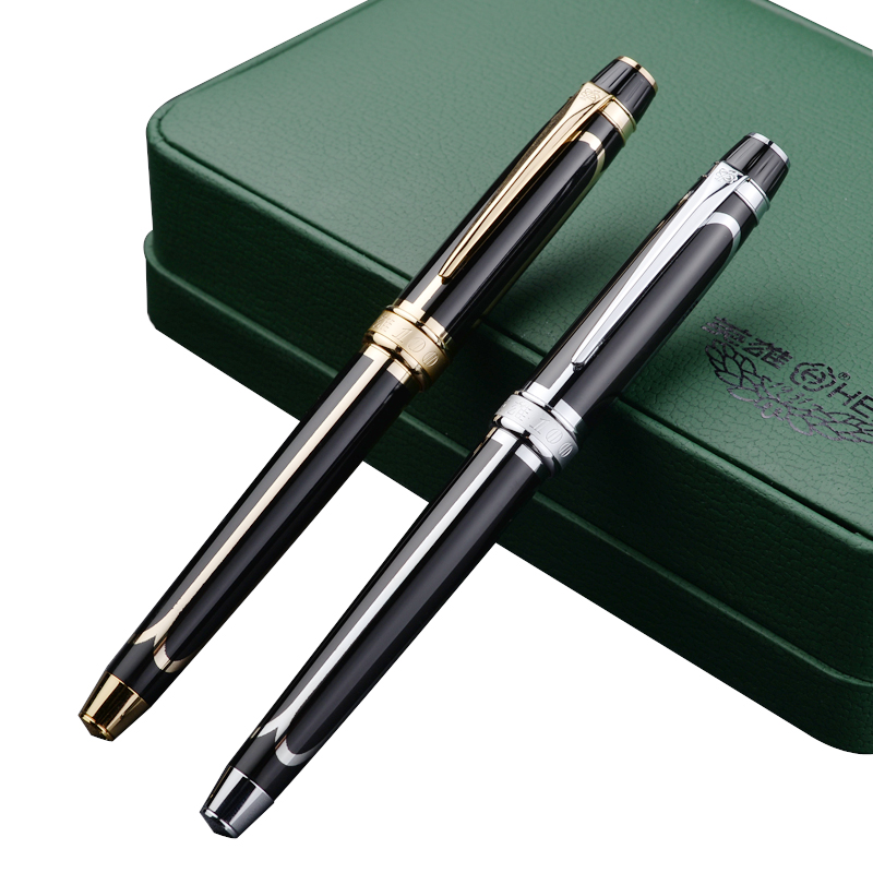 Fountain Pen 14 K Solid Gold Nib Original HERO 100 with gift box Office and school  stationery The best gift  Free  Shipping fountain pen curved nib or straight nib to choose hero 6055 office and school calligraphy art pens free shipping