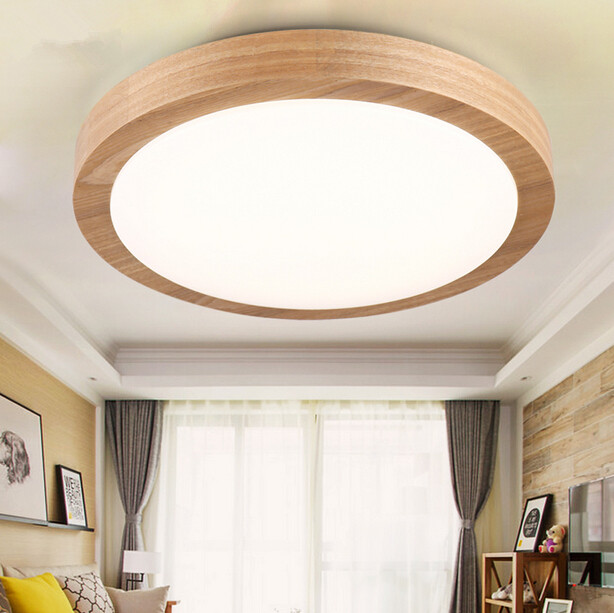 Simple and Modern Cozy Bedroom LED Ceiling Lamp Solid Wood Circular Living Room Study Balcony Ceiling Light Free Shipping modern led ceiling lamp aisle simple living room porch balcony study room long lamp