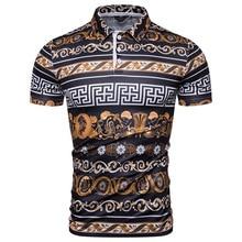 2019 summer fashion plaza printed mens POLO shirts, short-sleeve casual shirts men