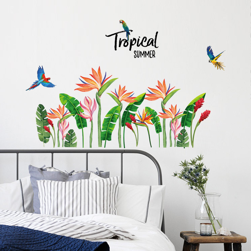 Tropical Plants Banana Leaves Flowers Wall Stickers Rooms Home Decor