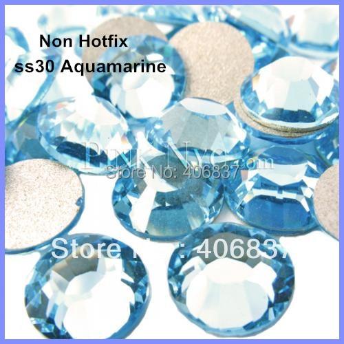 Free Shipping! 288pcs/Lot, ss30 (6.3-6.5mm) Aquamarine Flat Back Nail Art Non Hotfix Rhinestones
