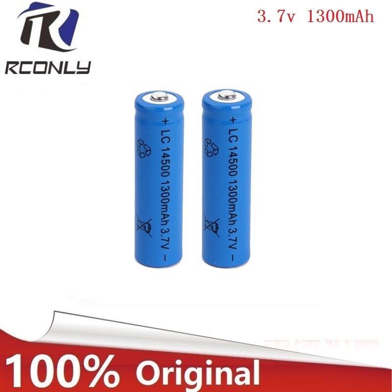 Efficient energy 2pcs 14500 battery 3.7V 1300mAh rechargeable li-ion battery for Led flashlight batery litio battery NewestEfficient energy 2pcs 14500 battery 3.7V 1300mAh rechargeable li-ion battery for Led flashlight batery litio battery Newest