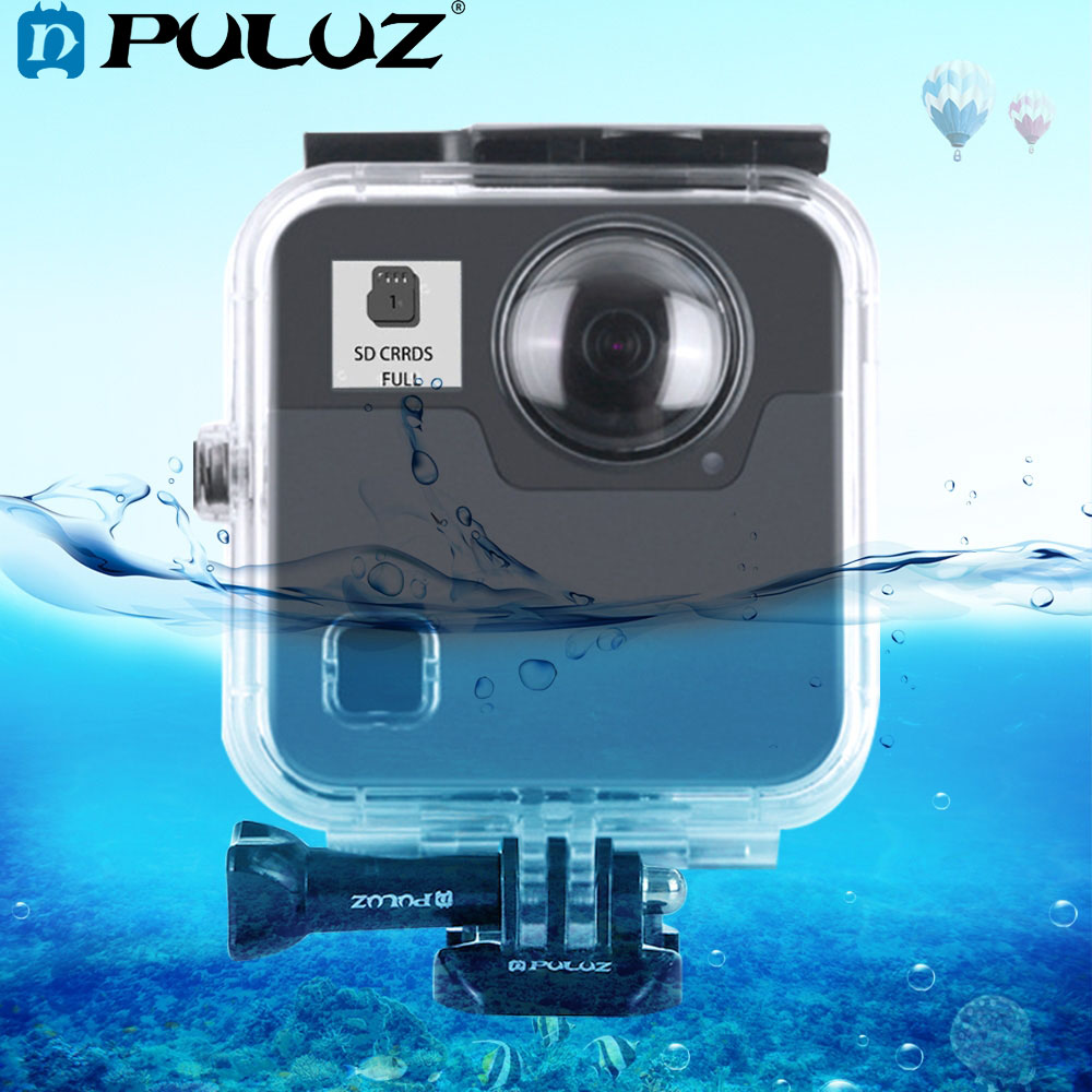 PULUZ 45m Underwater Waterproof Shockproof Housing Diving Case Cover for GoPro Fusion with Buckle Basic Mount