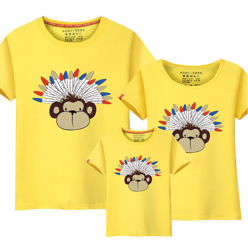 Mother & Kids Lytlm Family Look Indian Style Feather Monkey T Shirts Summer Family Matching Clothes Father Mother Kids Outfits Cotton Top Tees