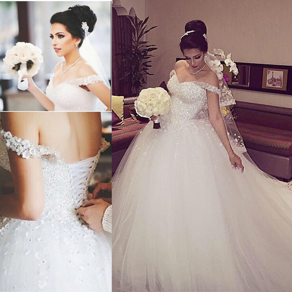 New Elegant Princess Wedding Dresses 2016 V neck Ball Gown Lace Up Back  Beads Tulle Chapel Train Bridal Gowns Vestido de noiva-in Wedding Dresses  from ... 20eb59801fca
