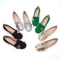 2018 Hot High quality Women 5cm Mid Block HeeL Pump Shoes 10cm High Heel Metal Buckle Tassel Square Heel Casual Shoes