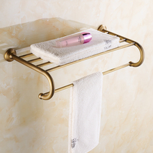 купить Antique Brass bathroom towel shelf bath bathroom rack bathroom towel holder double towel shelf ZD917 недорого