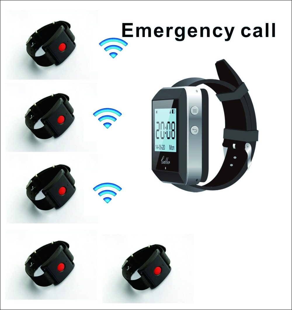 1 watch wrist pager+5 watch wrist call for waiter call/ guest call/ nurse emergency pager ,wireless calling system 433mhz waiter call wireless system 1 smart watch receiver pager with 5 bell buzzer for customer use