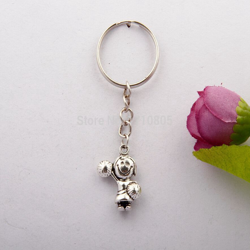Hot 10pcs/Lot Ancient Silver Cheerleader Girl Peanut Underwear 17 Kinds Charm Keychain Keyring Women Jewelry Holiday Gifts F715
