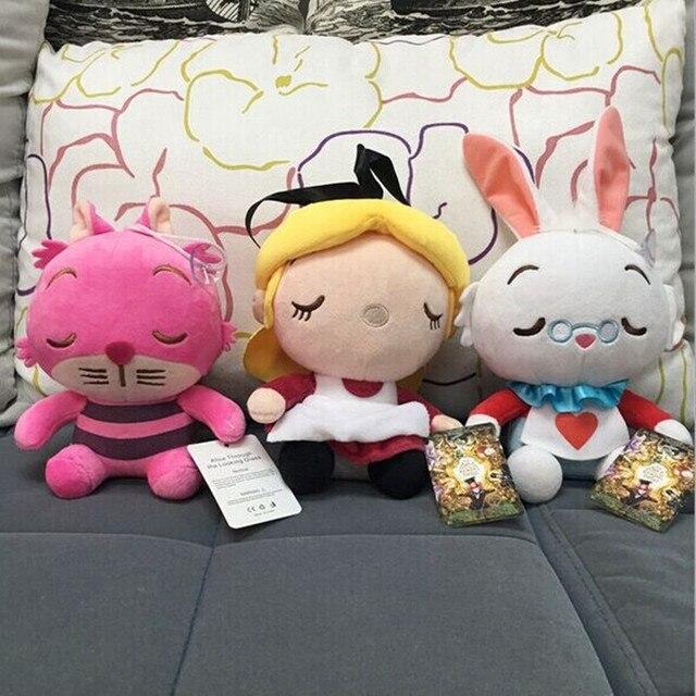 3 pçs/lote 2 Alice Alice No País Das Maravilhas Cheshire Cat Coelho Branco De Pelúcia Brinquedos de Pelúcia Kawaii Dolls Presente Para As Crianças