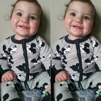 New Retail  new Newborn infants baby boy and girl wear mickey even climb clothes conjoined ha garments 1