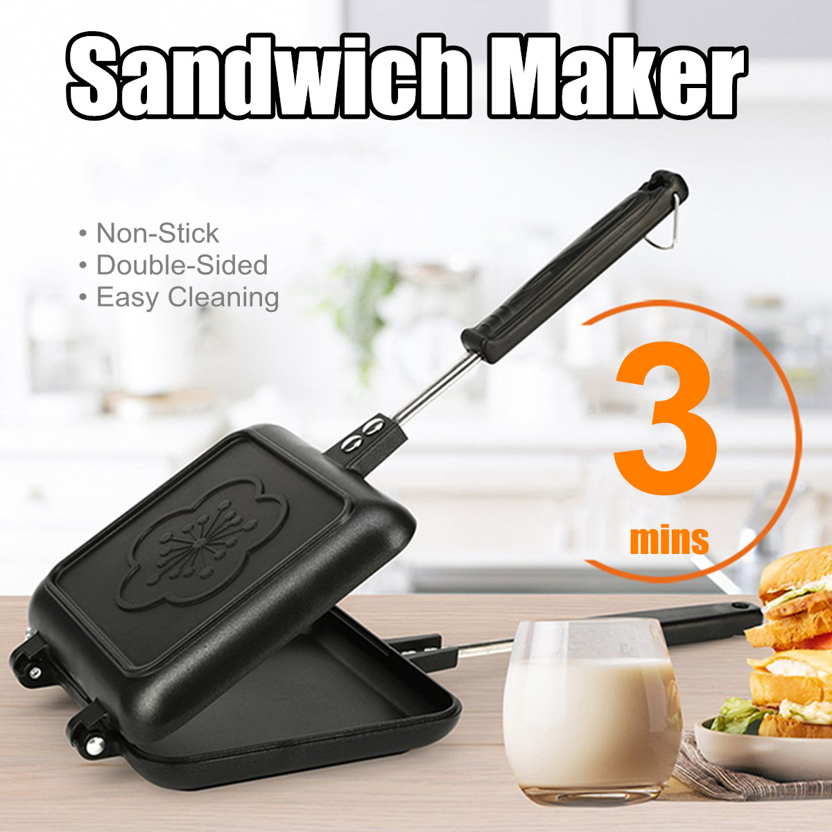 Double-Side Non-Stick Sandwich Maker Bread Toast Breakfast Machine Waffle Pancake Baking Barbecue Oven Mold Grill Frying PanDouble-Side Non-Stick Sandwich Maker Bread Toast Breakfast Machine Waffle Pancake Baking Barbecue Oven Mold Grill Frying Pan