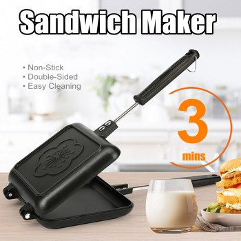 Double-Side Non-Stick Sandwich Maker Bread Toast Breakfast Machine Waffle Pancake Baking Barbecue Oven Mold Grill Frying Pan