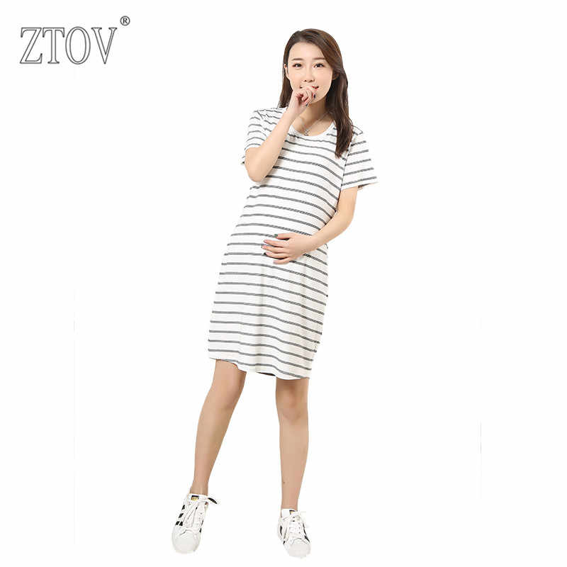 940dcf1f8becc ZTOV Long Stripes Maternity Dresses Clothing for Pregnant Women Plus size Pregnancy  dress Clothes Mother Home