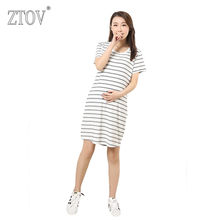 3ad579e7abd ZTOV Long Stripes Maternity Dresses Clothing for Pregnant Women Plus size Pregnancy  dress Clothes Mother Home