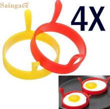 MA 24 Home Hot Selling Fast Shipping  4Pcs Silicone Round Egg Rings Pancake Mold Ring W Handles Nonstick Fried Frying B