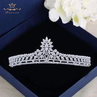 Bavoen High Quality Brides Clear Zircon Crown Tiara Crystal Silver Hairbands Wedding Hair Accessories