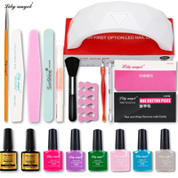 LiLY Angel 9W Led Lamp+6Color 7.3ml UV Naill Gel Base Top Coat Polish Nail Art Manicure Tool Kits with tip Remover Practice set