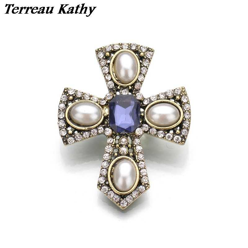 Terreau Kathy Real Shooting Cameo Simulated Pearl Brooches For Women Rhinestone Cross Metal Pin Vintage Brosh 2016 New BKb71