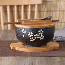 Kitchenware Japanese bowl Instant Noodles Tableware Dining room Tableware Salad Ceramic bowl Bring Wooden Spoon Wooden Chopstick 5 6 8 inch japanese cherry blossom ceramic ramen bowl large instant noodle rice soup salad bowl container porcelain tableware