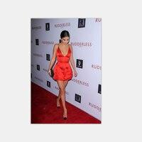 Sexy V Neck Spaghetti Strap Orange Satin A Line Mini Short Celebrity Dress Selena Gomez Red