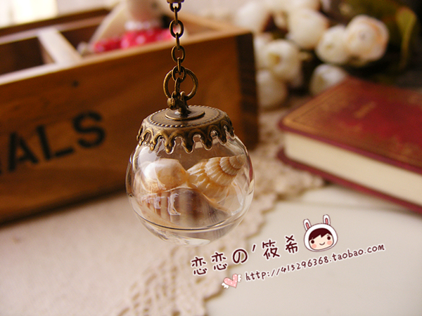 Zakka vintage ocean wind pearl shell glass bottle crystal ball pendant dust plug  for iphone