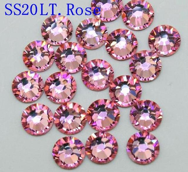AAA Qualidade Cristal SS20 LT. Pink Rose Cor 1440 pcs Não Hotfix Strass 4.6-4.8mm Cola na Prego flatback Art Pedrinhas