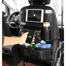 Заднем сиденье автомобиля сумка для хранения карманы с USB Зарядное устройство багажник Организатор напиток ткани Phone Pad держатель закладочных уборки автомобильные аксессуары