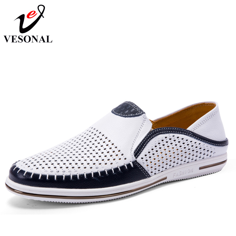 VESONAL Summer Hollow Out Breathable Genuine Leather Casual Male Shoes For Men Adult Loafers Slip On