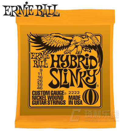 Ernie Ball 2222 Hybrid Slinky Nickel Wound Electric Guitar Strings 9-46 slinky malinki