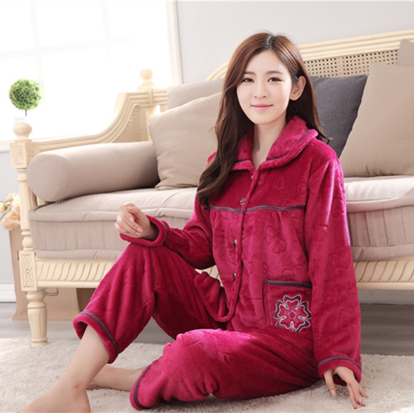 0904320d3e Womens Pyjamas Home Clothes Pajamas Winter Women Nightwear Long Sleeve  Flannel Sleepwear Sets Pijama Plus Size L XL XXL 3XL Q362-in Pajama Sets  from ...