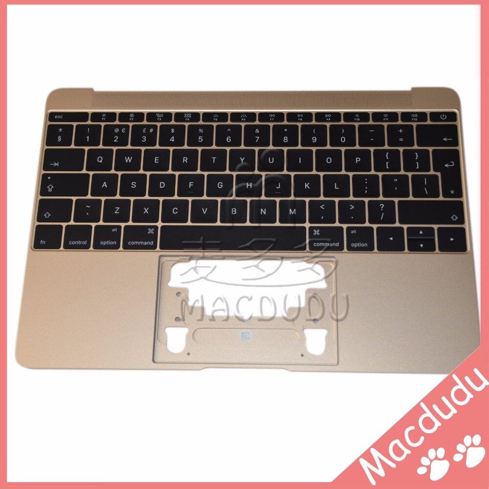 New UK Keyboard & Golden Topcase Palmrest for Macbook 12 Retina A1534 2015 new big enter uk palmrest topcase for